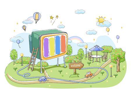rainbow umbrella: Information Communication Society Illustration Stock Photo
