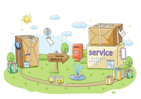 borne fontaine: Parcel Service Illustration Banque d'images