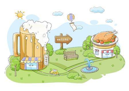 plateau: Chicken And Beer Illustration