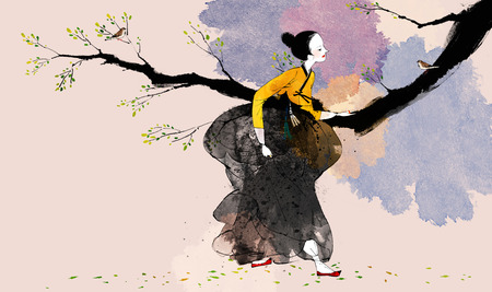 traditonal: Traditional Korean Woman Illustration