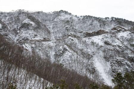 raod: South Korea, Jeonbuk, snow-covered mountain raod Stock Photo