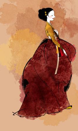 traditonal: Traditional Korean Woman Illustration