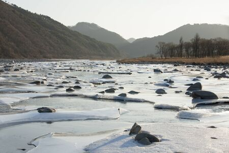 Frozen river, Inje Naerincheon; South Korea;