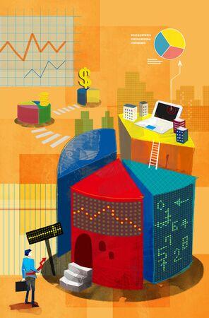 Imaginative Businessmans Life Illustration Stock Photo