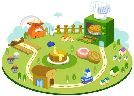Special Themed Miniature Town Illustration Stock Photo