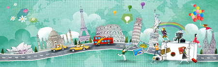 Illustrazione di viaggio mondiale