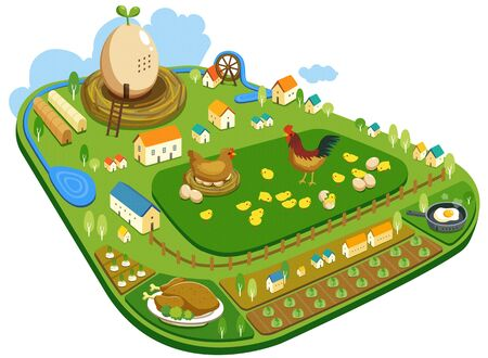 watermill: Special Themed Miniature Town Illustration Stock Photo