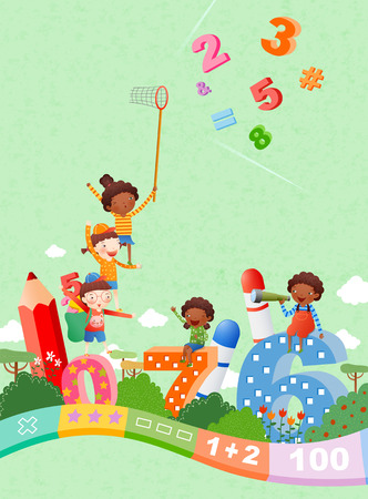 arithmetic: Childrens Fun Time Illustration