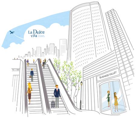 revolving: City Life Illustration
