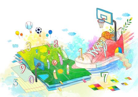balon de basketball: Abstract Child Education Illustration Foto de archivo