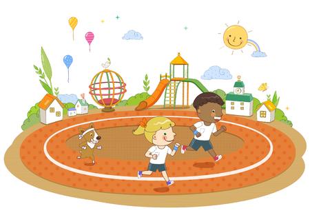 rainbow slide: Childrens Education Illustration