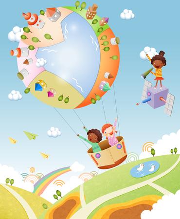 아이들의 즐거운 시간 그림 스톡 콘텐츠