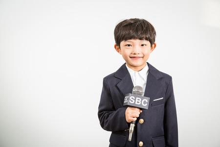Reportero del niño joven Foto de archivo - 72118404