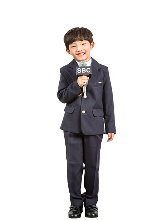 Young Child Reporter Stock Photo