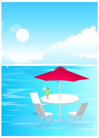 horizon over water: Beach Umbrella and Chairs