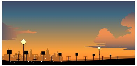 City Skyline with street light at night Illustration