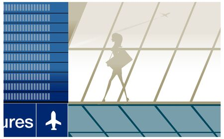 Silhouette of beauty girl in airport with baggage