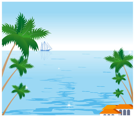 illustrating: Coconut palm tree and sailboat on tropical beach