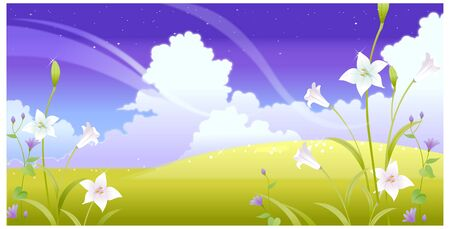 Mountain landscape with flowers and sky Illustration