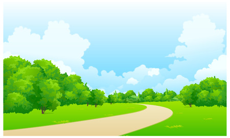 garden path: This illustration is a common natural landscape. Illustration