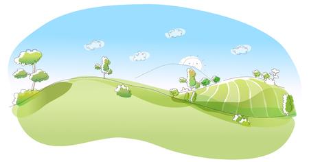 rolling landscape: Rolling landscape Illustration