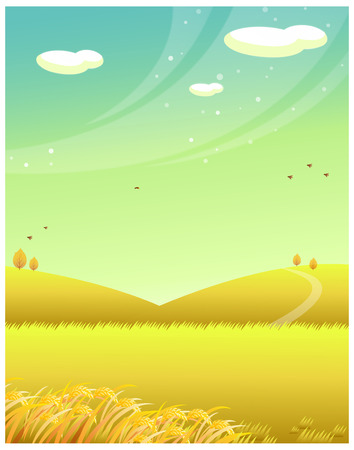 clouded sky: Mountains with wheat field Illustration