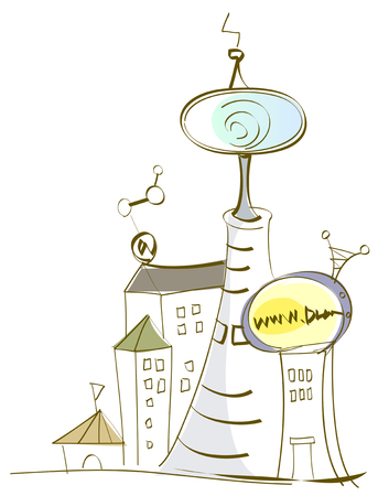 Chemical Plants and world wide web Illustration