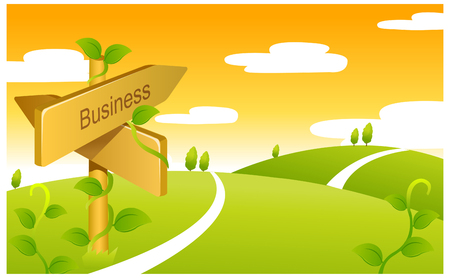 Business Sign boards on Green landscape Illustration