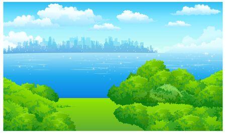 緑の風景とウォーター フロントの街並み  イラスト・ベクター素材