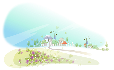 tranquillity: Curved path towards city Illustration