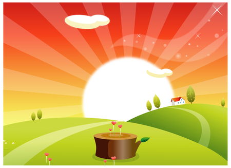rolling landscape: This illustration is a common natural landscape. Illustration