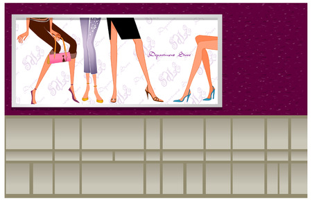 departmental: close up of the legs of women in a departmental store Illustration