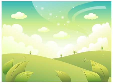glows: This illustration is a common natural landscape. Illustration