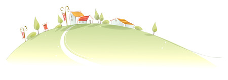 Rural houses on green mountain Illustration