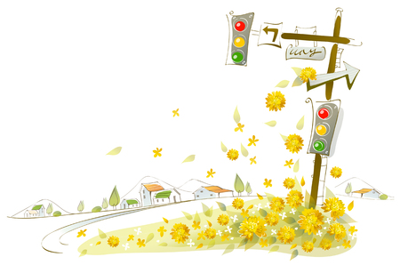 close up of a traffic light and direction sign with flowers Çizim
