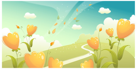 Green landscape with flowers and sky Illustration