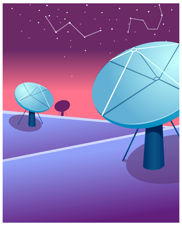 tranquillity: Satellite dishes and astrology sign in sky Illustration