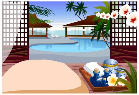 unoccupied: Indoor swimming pool of resort hotel Illustration