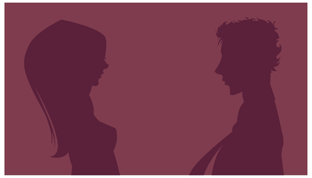 Silhouette of couple in background Illustration