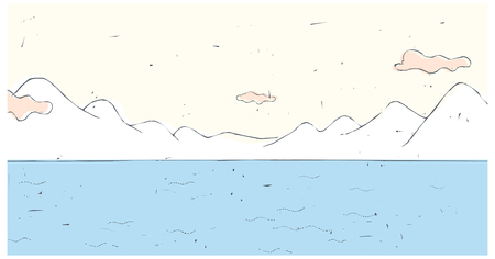 horizon over land: Mountain And Water Illustration