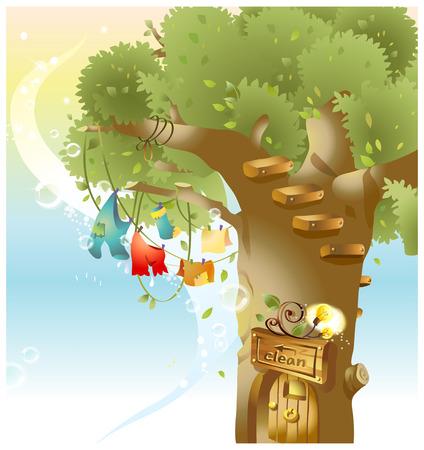 no entrance: Clothes hanging on Clothesline on tree Illustration