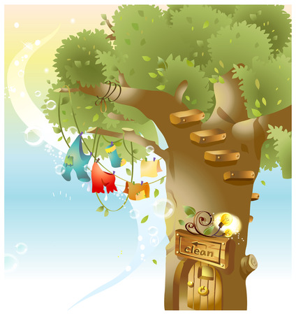 Clothes hanging on Clothesline on tree Illustration