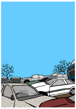 junkyard: Stacked crushed cars being recycled Illustration