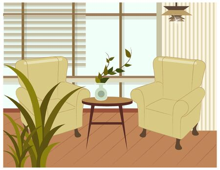 Living room with armchair and table Illustration