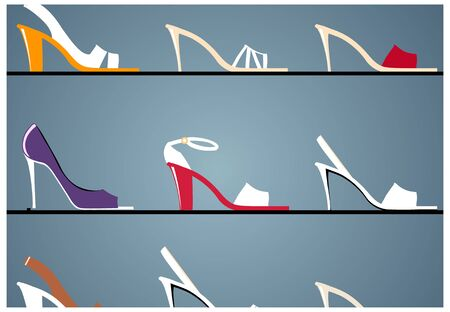 Womens shoes in window display in boutique Illustration