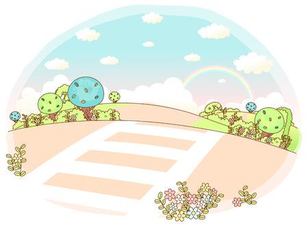 Rolling Landscape with crosswalk Illustration