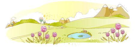 Rural scene with pond Illustration