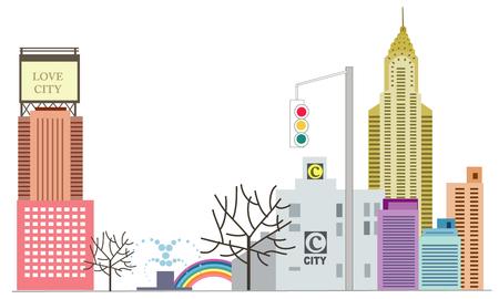 City skyline and traffic light