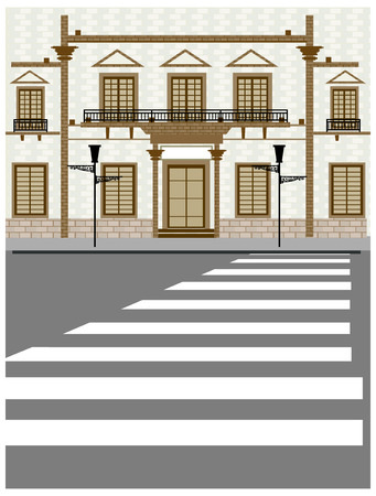 Building exterior and crosswalk on road