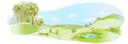 rural scene: Rural scene with pond Illustration